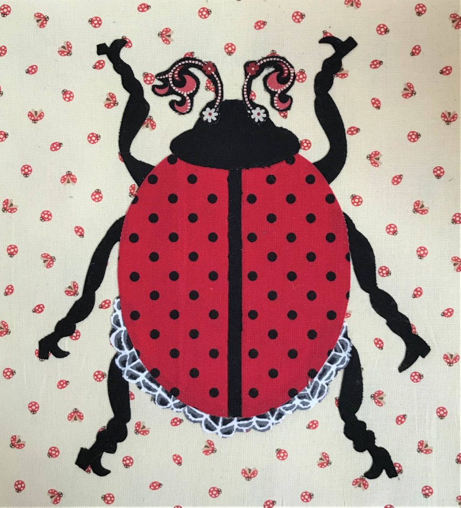 Whatevers! #32 Lady Bug 8 inch Block Collage Pattern Only by Laura Heine