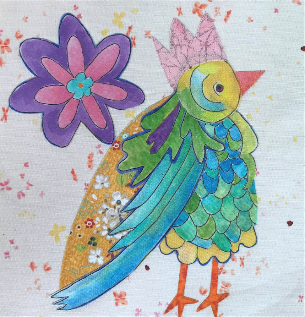 Whatevers! #35 Queen Birdie 8 inch Block Collage Kit and Pattern by Laura Heine