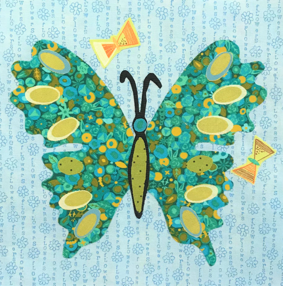 Whatevers! #36 Butterfly 8 inch Block Collage Kit and Pattern by Laura Heine