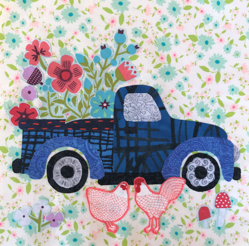 Whatevers! #37 Flower Truck 8 inch Block Collage Kit and Pattern by Laura Heine