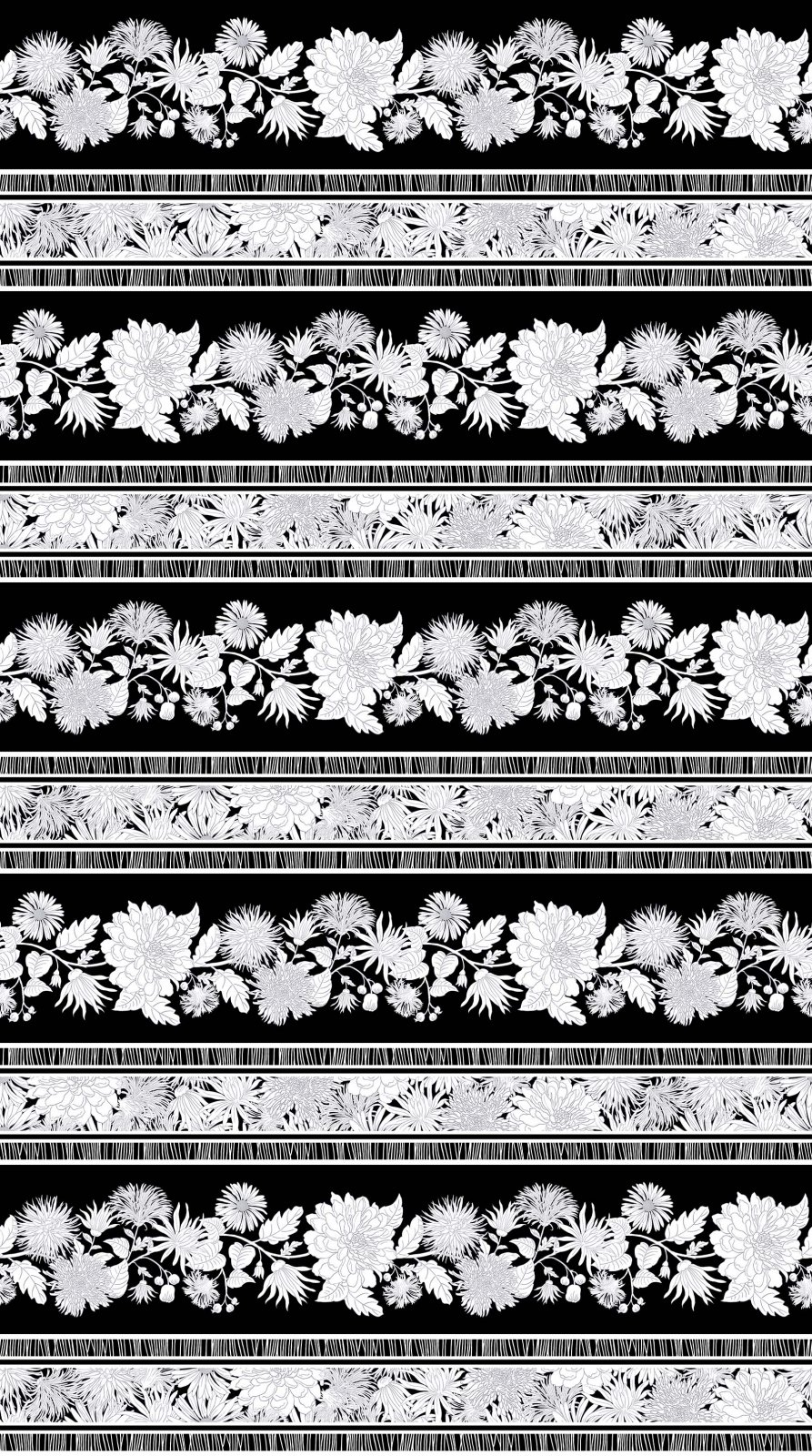 Black and White Flower Borders