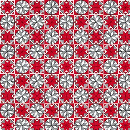 Snowflake Tiles - Red & Grey