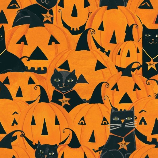 Too Cute to Spook Jack-O-Lanterns and Cats