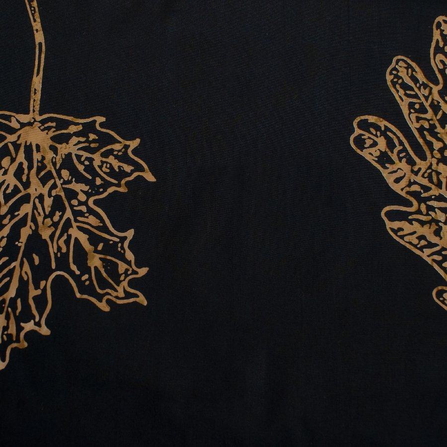 Batik Black Lg Gold Leaves
