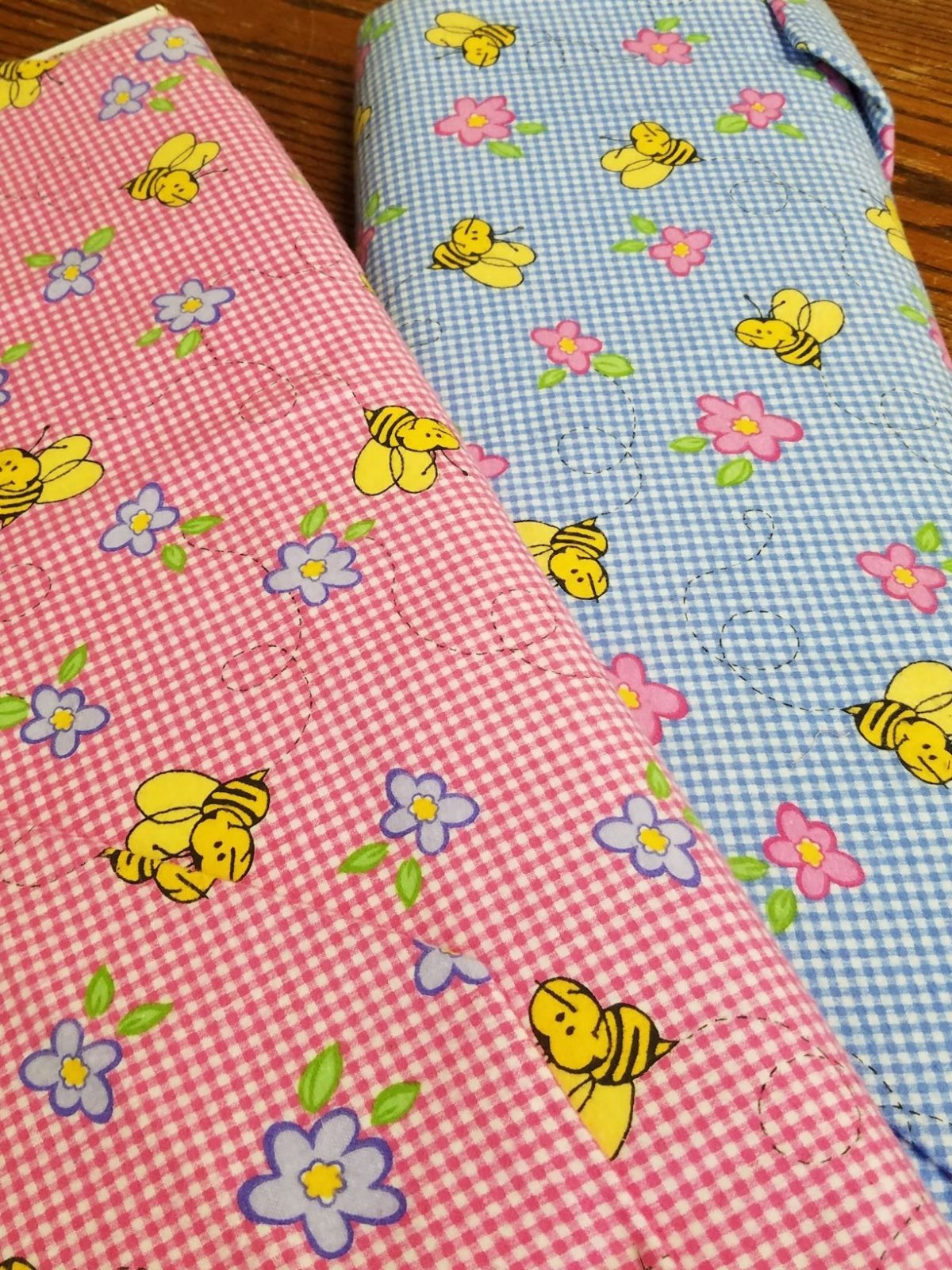 Bees on Blue or Pink Check Flannel