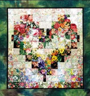 Heart in Bloom Wall Quilt Kit by Whims 18 sq