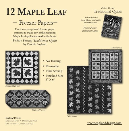12 Maple Leaf Freezer Papers  Pattern