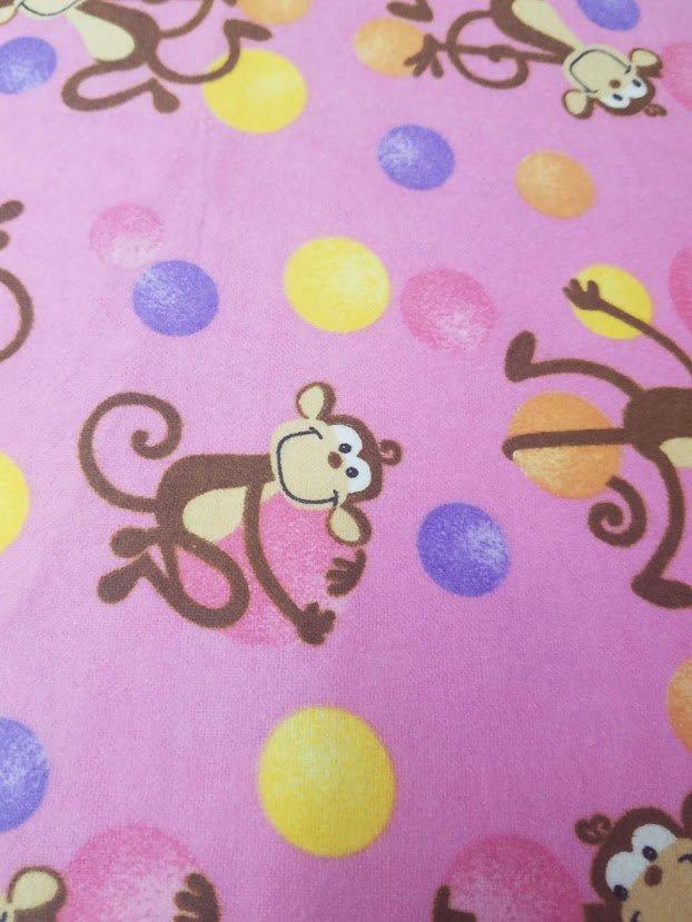 Flannel - Monkeys on pink w/balls