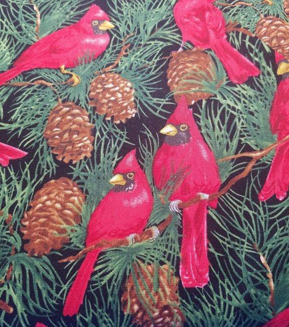 Seasons Greetings Cardinals in Pine Trees