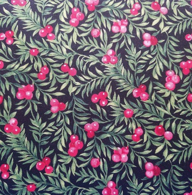 Seasons Greetings Holly Berries on Black