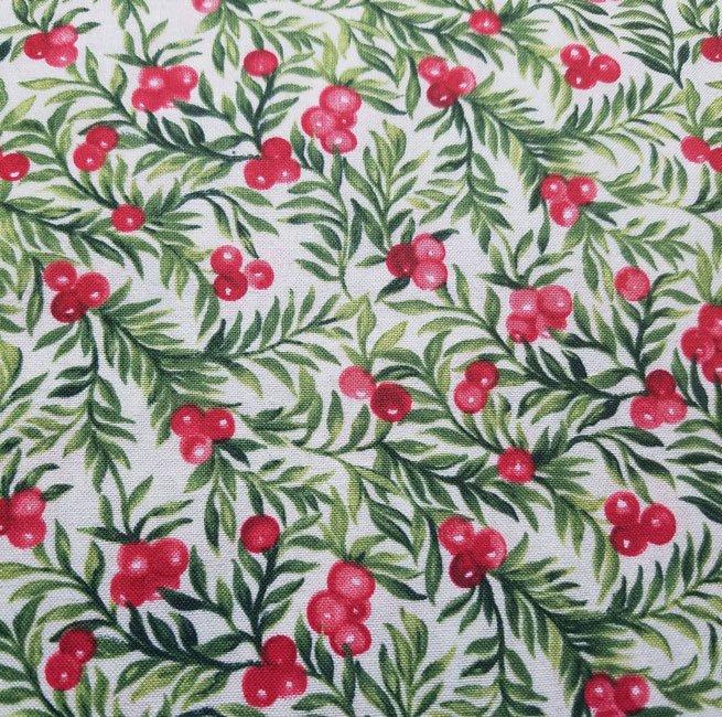 Seasons Greetings Holly Berries on White