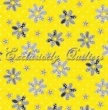 Sundance Yellow/Gray/Blk Flowers