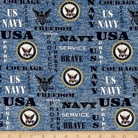 Navy Words and logo on blue heather