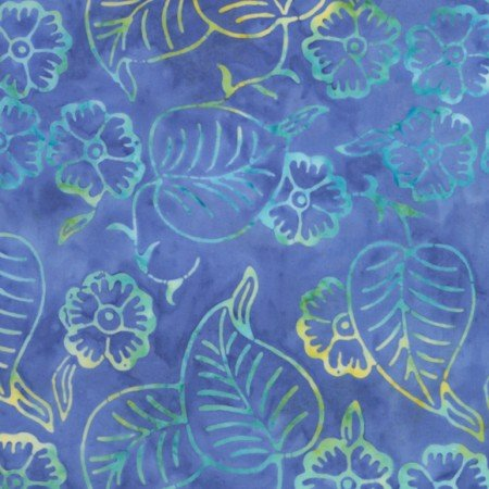 Tonga batik - POOL Blue Lg Leaves& Flowers