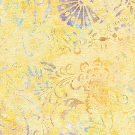 Tonga Batik - CANARY -Yellow w faded blue,green,&purple