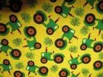 Barnyard Quilts Green Tractors on Yellow