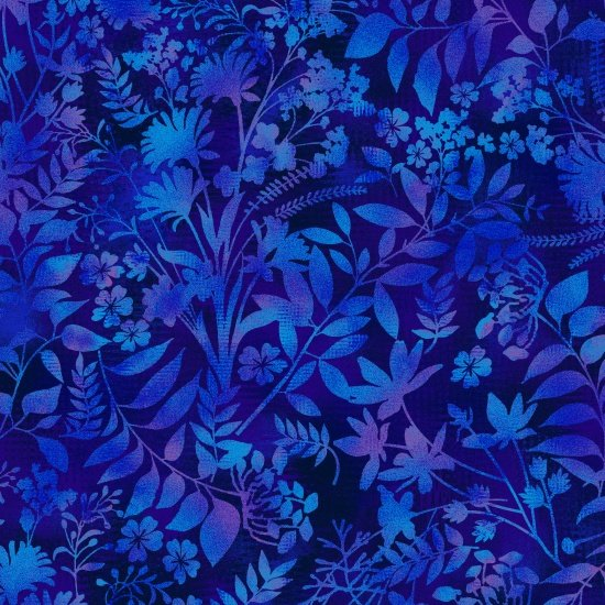 Aflutter - Wildflower & Fern Silhouettes in Dark Blue