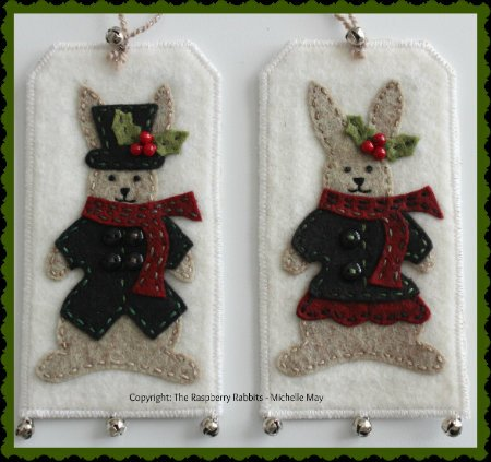 Hans and Holly Hare gift tags e-Pattern