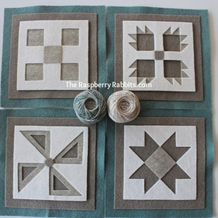 Shadow Box Blocks Muted Blue, Tan and White
