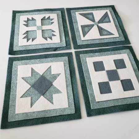 Ready to Stitch Shadow Box Blocks - Blue and White