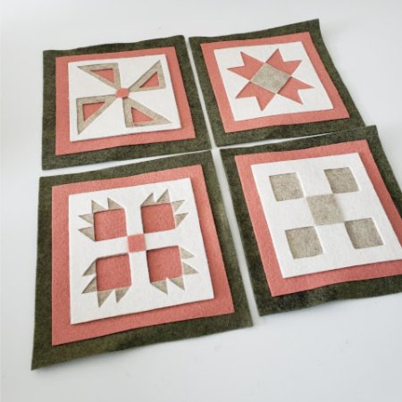 Ready to Stitch Shadow Box Blocks - Dusty Pink and Green