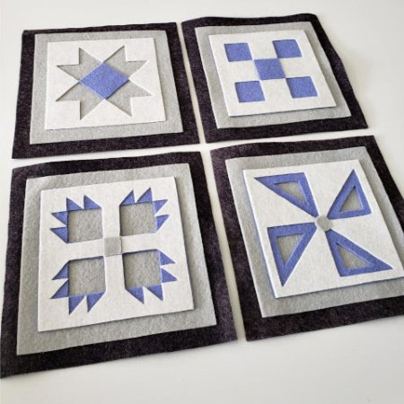 Ready to Stitch Shadow Box Blocks - Periwinkle, White and Grey