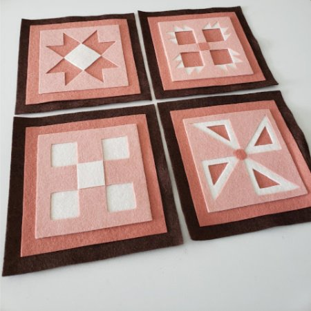 Ready to Stitch Shadow Box Blocks - Pink and Brown