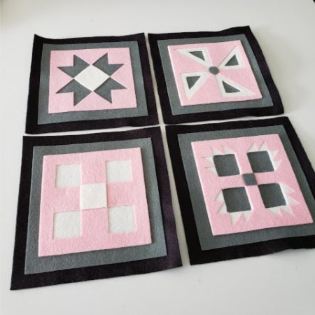 Ready to Stitch Shadow Box Blocks - Pink and Grey