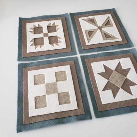 Ready to Stitch Shadow Box Blocks - Blue, White and Sand