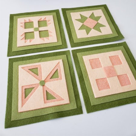 Ready to Stitch Shadow Box Blocks - Orange and Lime Sherbert