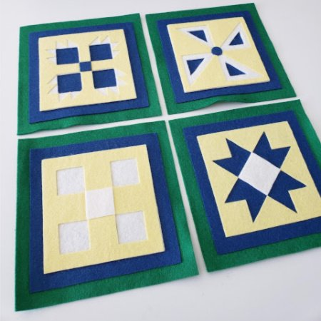 Ready to Stitch Shadow Box Blocks - Yellow, White, Blue and Green