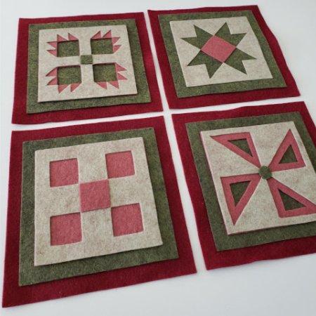 Ready to Stitch Shadow Box Blocks - Burgundy and Green