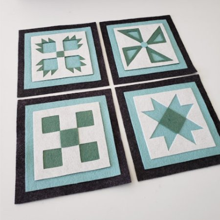 Ready to Stitch Shadow Box Blocks - Teal, White and Blue
