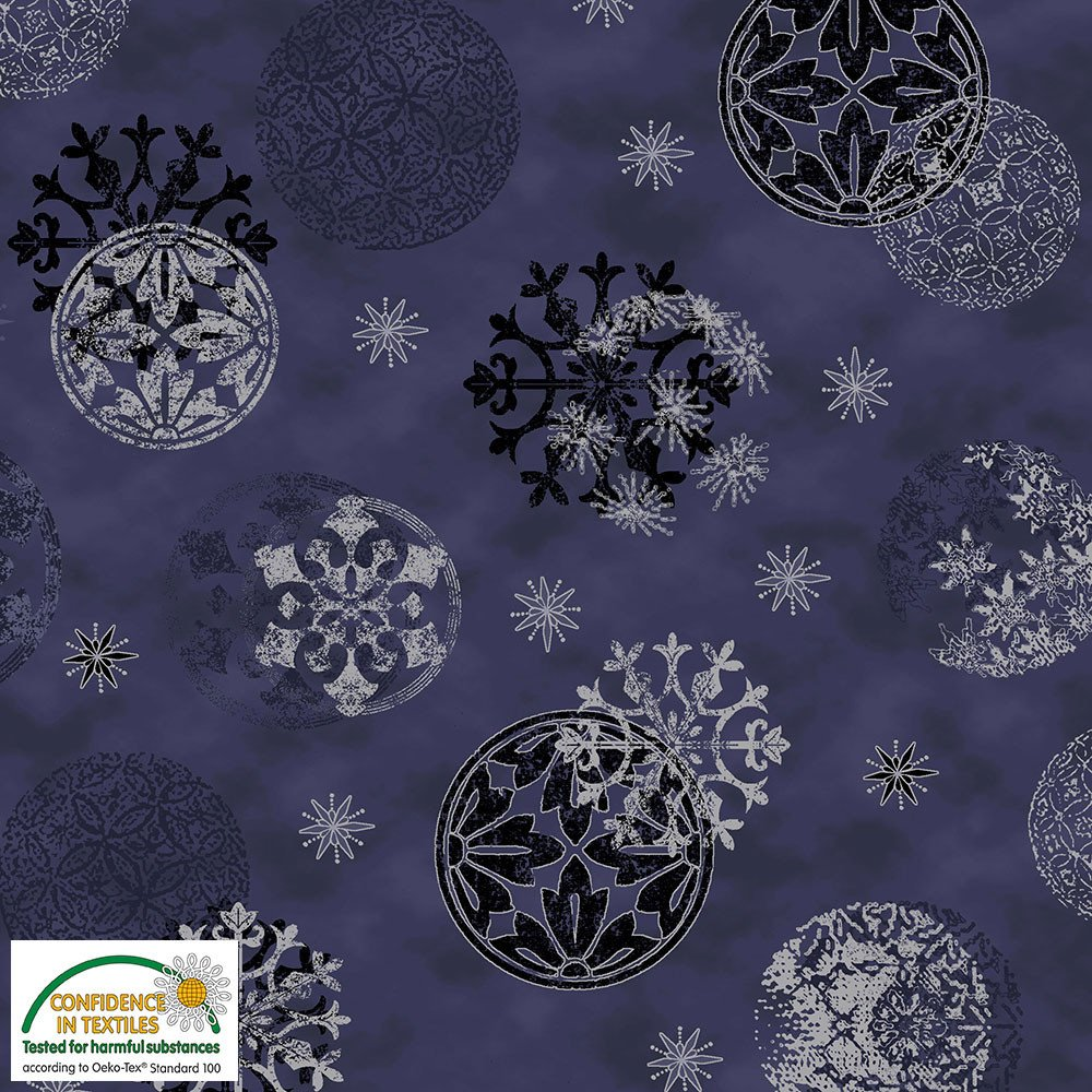 Magic Christmas Snowflakes & Balls on Navy