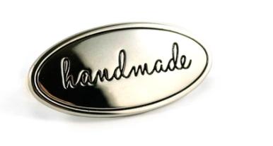Metal Bag Label Oval Handmade