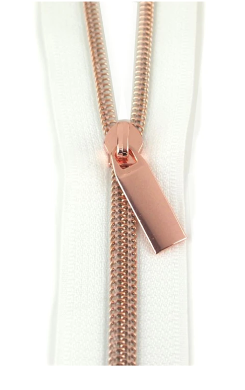 White/ Rose Gold 3yd Zipper with 9 pulls