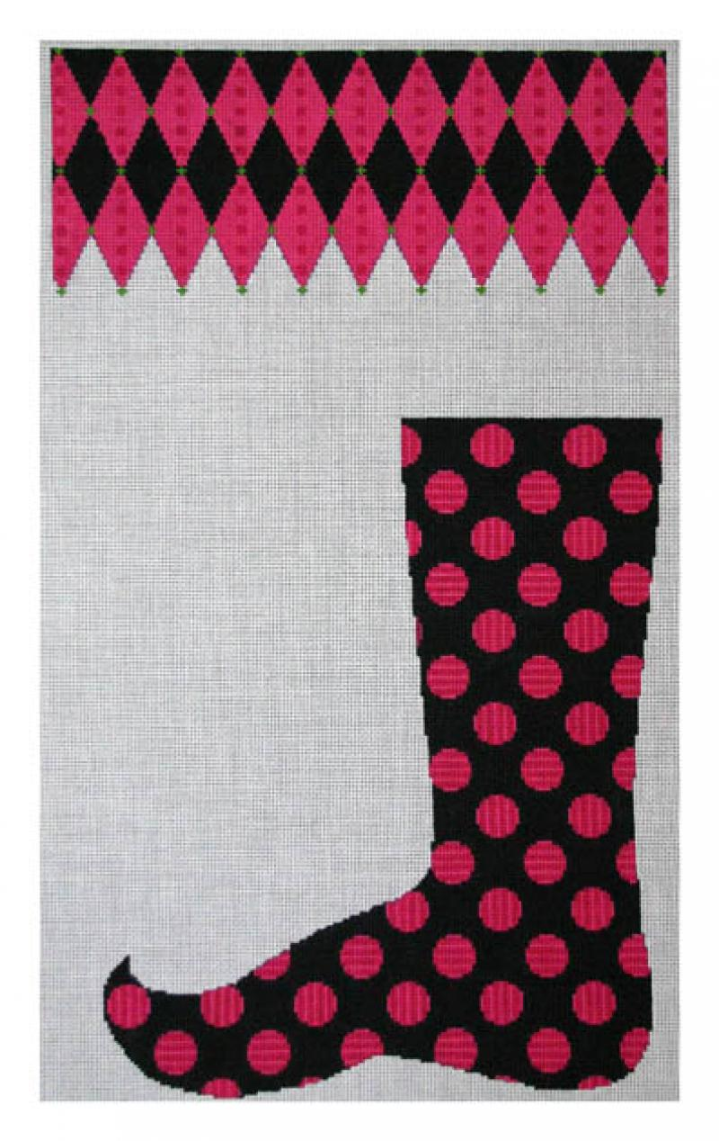 DH3755 - Pink Striped Dot on Black Jester