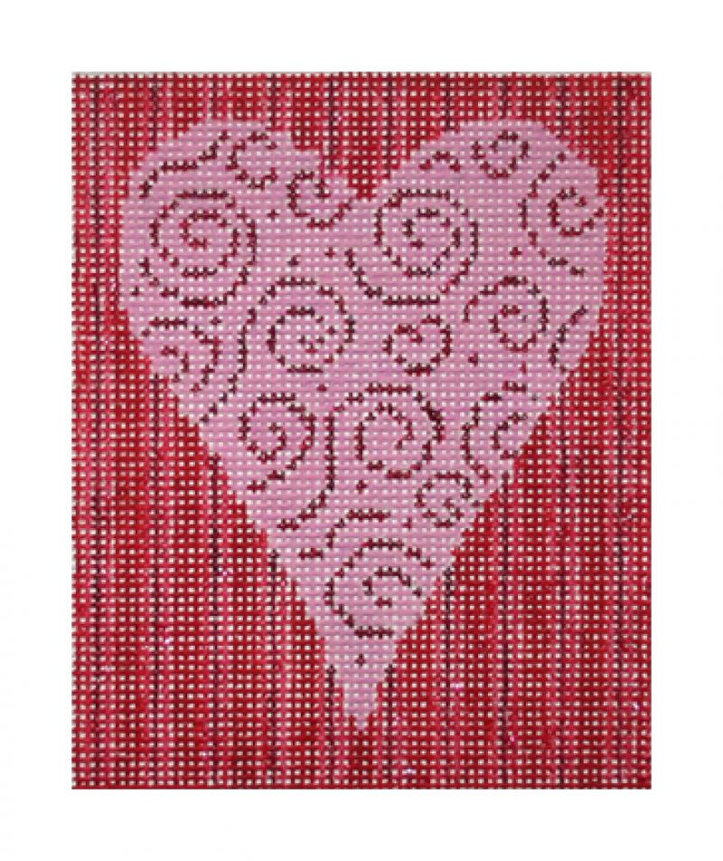 F3630 - Swirling Heart w/Stripe Background