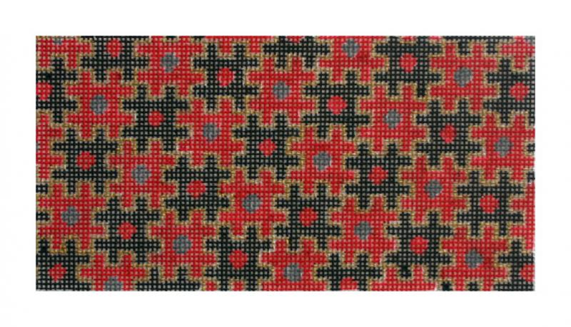 F3655 - Puzzle Wallet, Red & Black