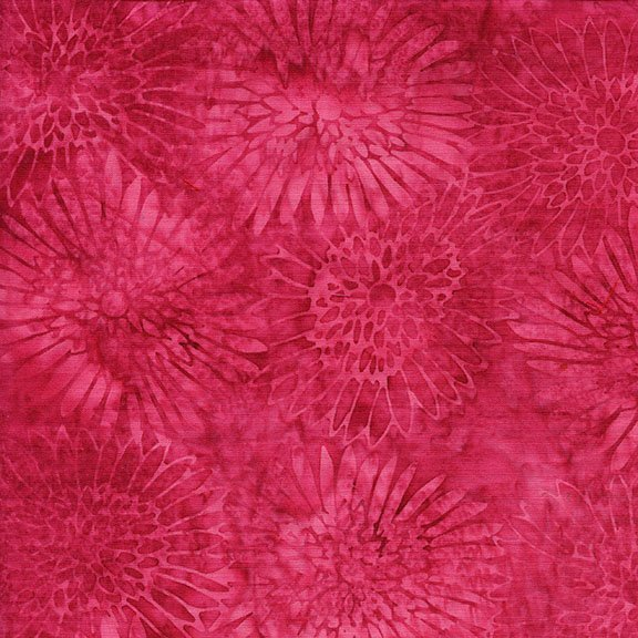 Island Batik Empress Garden Zinnia - Raspberry