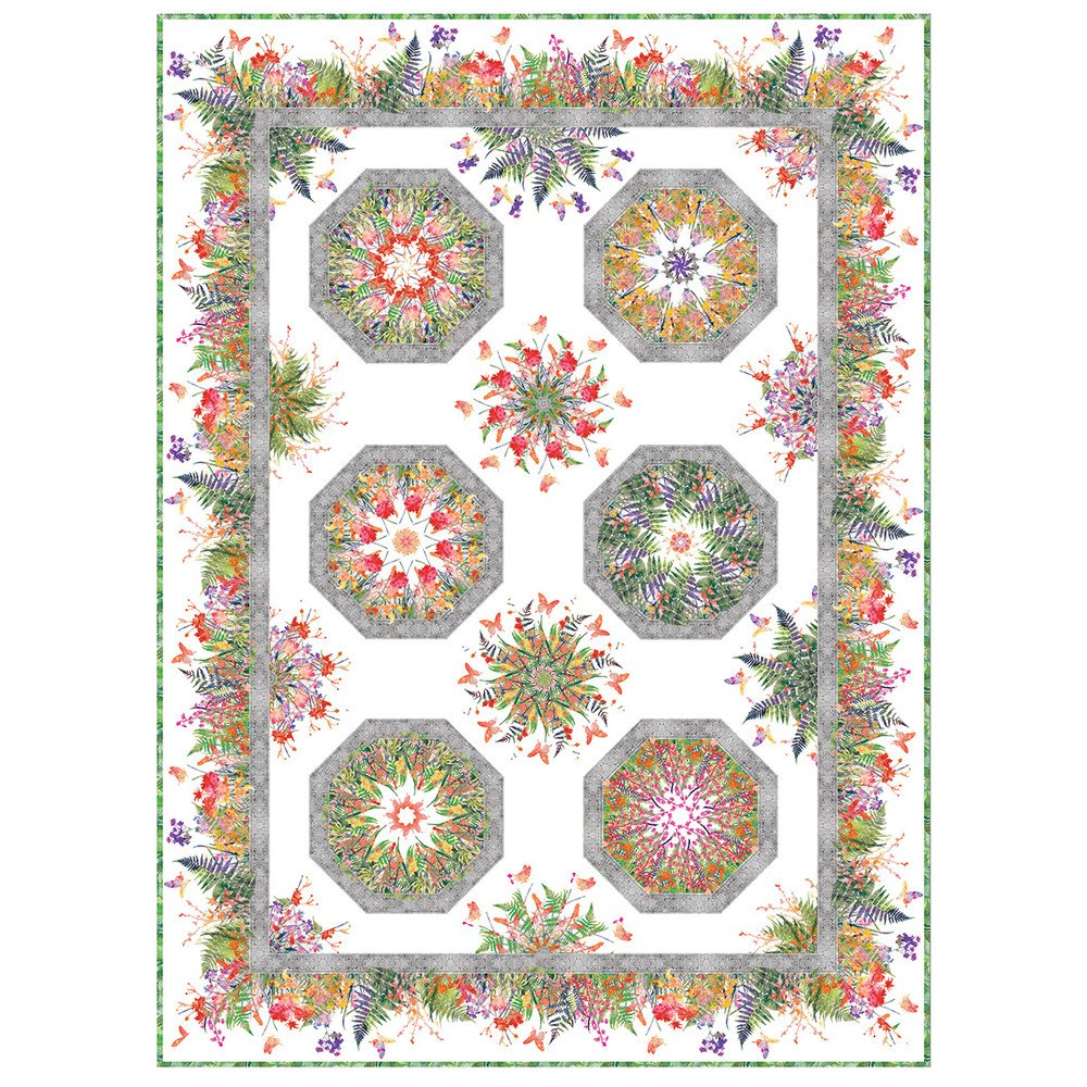 Garden of Dreams one Fabric Kaleidoscope Quilt Kit