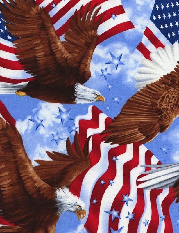 Timeless Treasures Patriotic Eagles