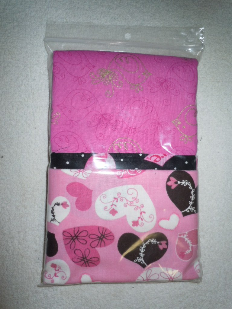 Pillowcase Kit - Pink/Brown Hearts/Black Accent