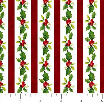 22874-10 Cream Holly Stripe | Christmas Delivery by Northcott Fabrics