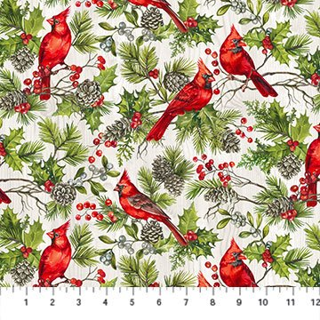 23474-91 Pale Gray Multi - The Scarlet Feather | Deborah Edwards for Northcott Studio