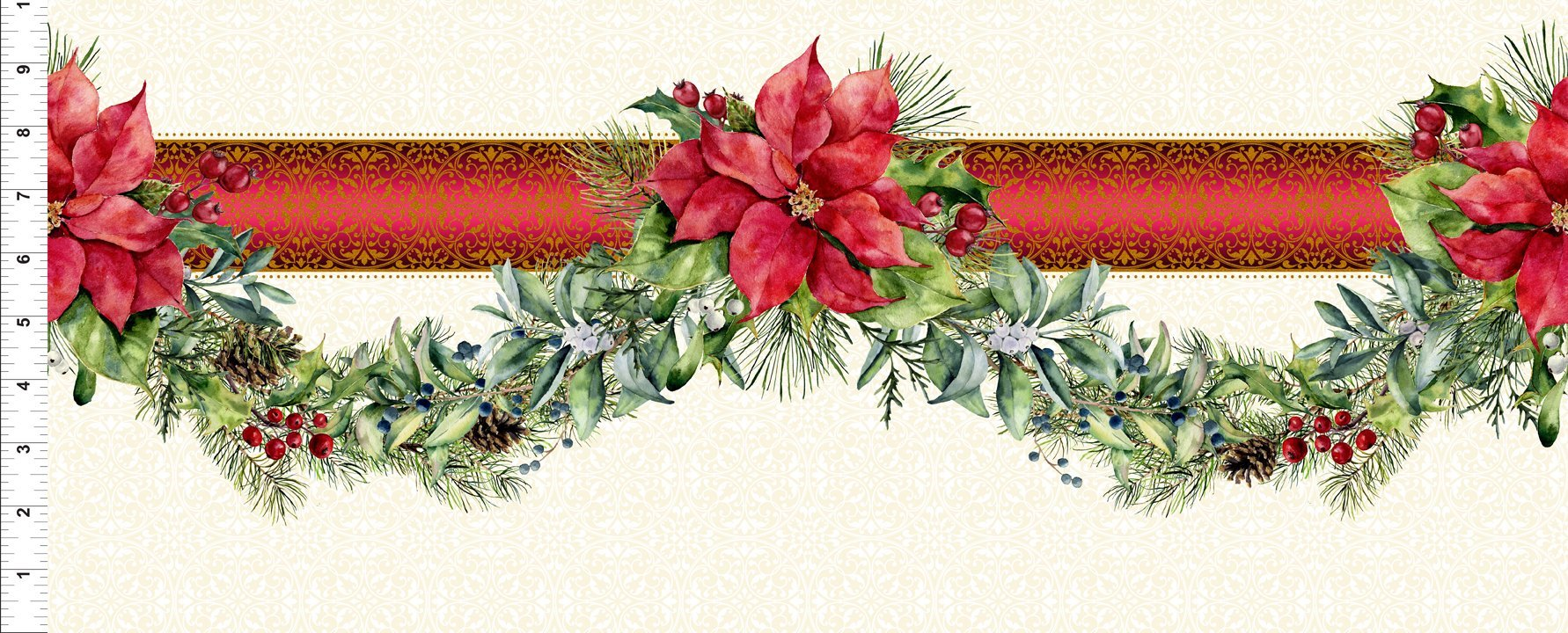 2APW1 Red/Green Swag Border - A Poinsettia Winter by Jason Yenter