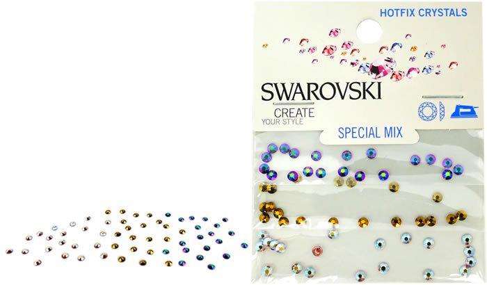 Swarovski Fancy Mix Hotfix Crystals #5055 Scarabeus, Crystal Dorado, Jonquil Mix