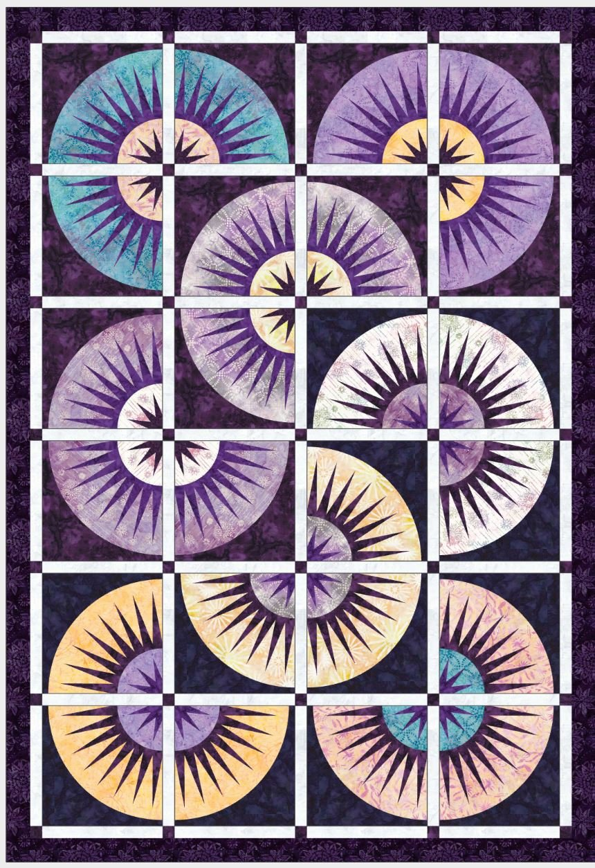 Clockworx Quilt kit in Tonga Batik Amethyst Collection