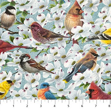 DP23007-62 Light Teal Allover Birds and Blossoms Digital Print - Joys Of Spring | by Abraham Hunter for Northcott Fabrics