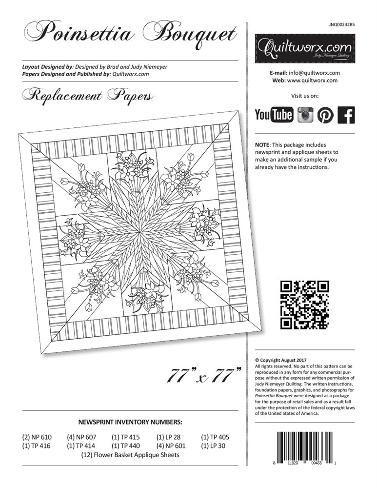 Poinsettia Bouquet Replacement Papers JNQ-00242R5 by Quiltworx  Judy Niemeyer Quilting